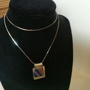 Jewelry - 1980's .925 Sterling Silver and glass pendant